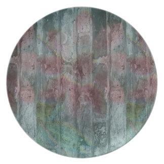 Flor de la placa de la melamina en la pared platos para fiestas