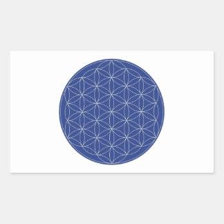 Flor de la plata del azul de la vida pegatina rectangular