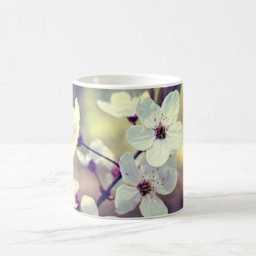 Flor de la primavera del vintage tazas de café