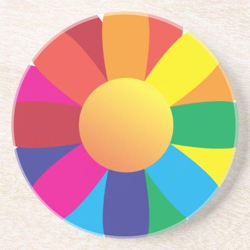 Flor de la sol del arco iris posavasos cerveza