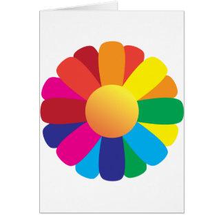 Flor de la sol del arco iris tarjeta de felicitación