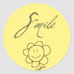 Flor de la sonrisa etiquetas redondas