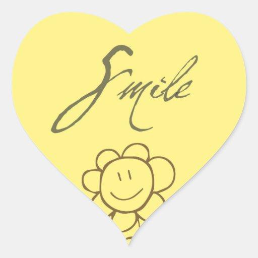 Flor de la sonrisa calcomania de corazon personalizadas