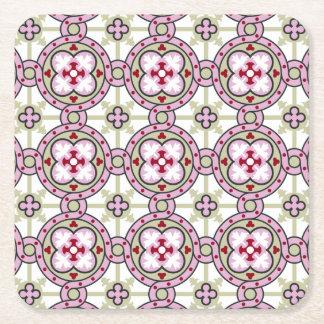 Flor de la teja de Barcelona con las cintas Posavasos De Cartón Cuadrado