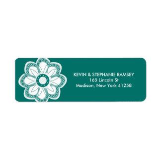 Flor de la turquesa etiqueta de remitente