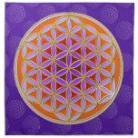 Flor de la vida - abotone la violeta anaranjada de servilletas