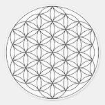 Flor de la vida (blanco y negro) etiqueta redonda