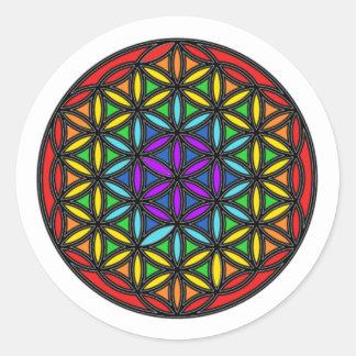 Flor de la vida Chakra2 Etiquetas Redondas