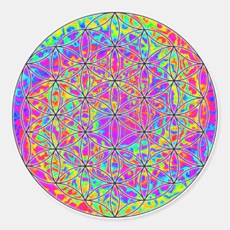 Flor de la vida (color 1) pegatina redonda