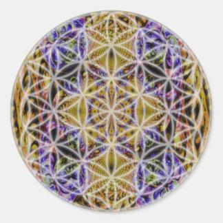 Flor de la vida (color 2) pegatina redonda