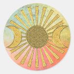 Flor de la vida con la luna etiquetas redondas