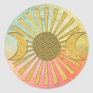 Flor de la vida con la luna pegatina redonda
