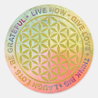 Flor de la vida con reglas de vida pegatina redonda