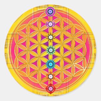 FLOR DE LA VIDA/de DES Lebens - chakras de Blume Etiqueta Redonda
