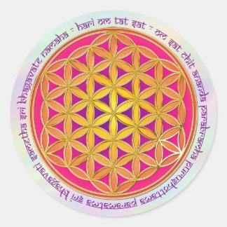 Flor de la vida/del mantra el | de Moola de color Pegatina Redonda