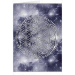 Flor de la vida el | de plata, universo azul tarjeta de felicitación