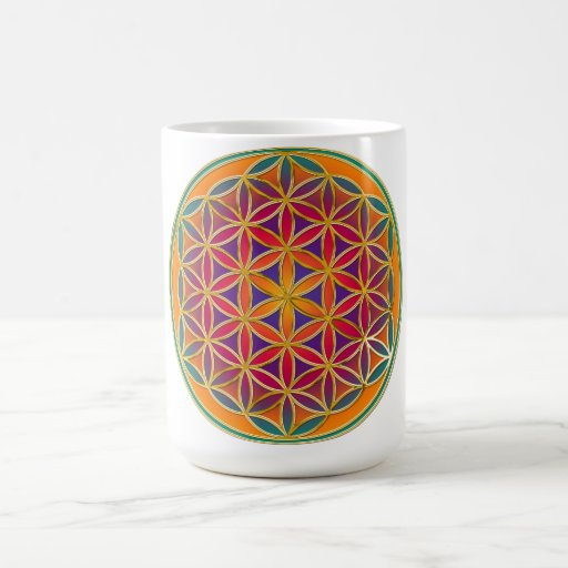 Flor de la vida - estilo 03 del botón tazas