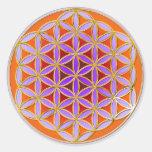 Flor de la vida - estilo 04 del botón pegatina redonda