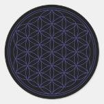 Flor de la vida etiqueta redonda