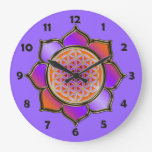 FLOR DE LA VIDA - loto violeta + números de la car Relojes