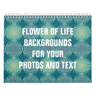 Flor de la vida - modelo del sello - azul ciánico calendario