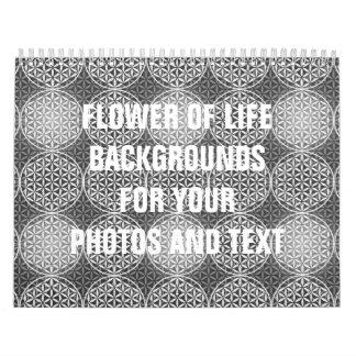 Flor de la vida - modelo del sello - gris calendario de pared