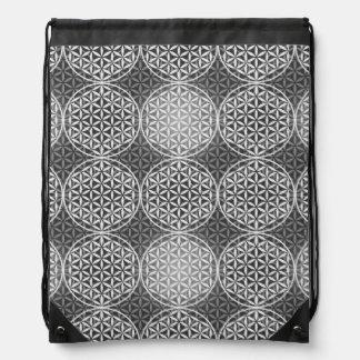 Flor de la vida - modelo del sello - gris mochila