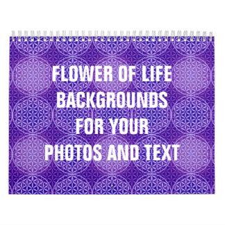 Flor de la vida - modelo del sello - púrpura calendario de pared