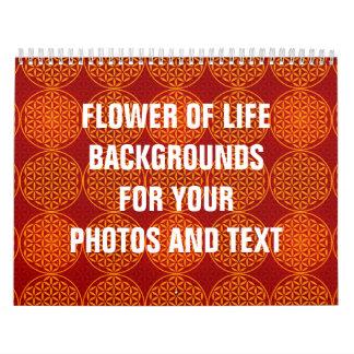 Flor de la vida - modelo del sello - rojo calendario