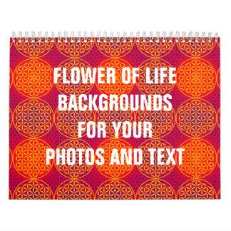Flor de la vida - modelo del sello - rosa del calendarios de pared