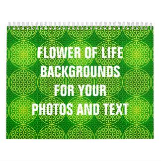 Flor de la vida - modelo del sello - verde calendarios de pared