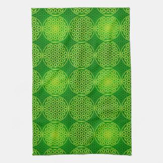 Flor de la vida - modelo del sello - verde toallas de cocina