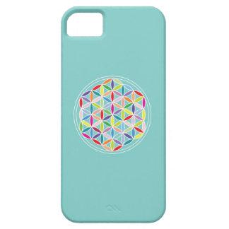 Flor de la vida - multicolora en azul iPhone 5 Case-Mate fundas