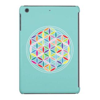 Flor de la vida - multicolora en azul fundas de iPad mini