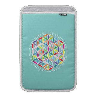 Flor de la vida - multicolora en azul funda  MacBook