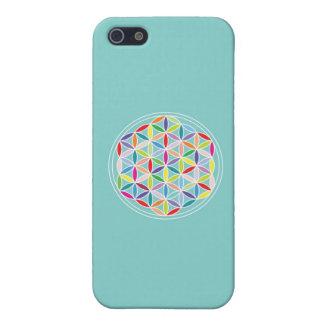Flor de la vida - multicolora en azul iPhone 5 coberturas