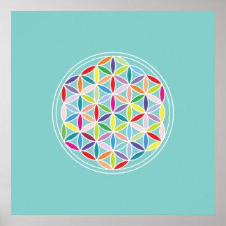 Flor de la vida - multicolora en azul póster