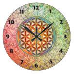 Flor de la vida - ornamento I Reloj Redondo Grande