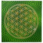 FLOR DE LA VIDA - oro + anillos verdes Servilletas De Papel