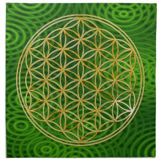 FLOR DE LA VIDA - oro + anillos verdes Servilleta