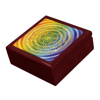 FLOR DE LA VIDA - oro + círculo coloreado Joyero Cuadrado Grande