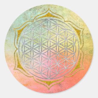 Flor de la vida - oro de plata de Lotus Pegatina Redonda
