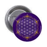 Flor de la vida - oro de plata de Lotus Pins
