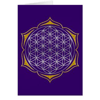 Flor de la vida - oro de plata de Lotus Tarjeta De Felicitación