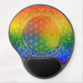 Flor de la vida - oro del arco iris del ornamento alfombrilla de ratón con gel