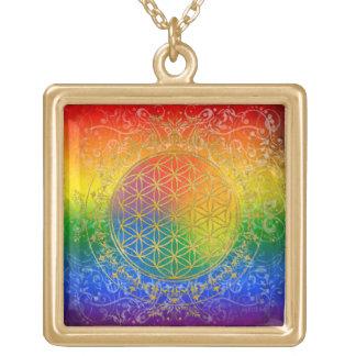 Flor de la vida - oro del arco iris del ornamento colgante cuadrado