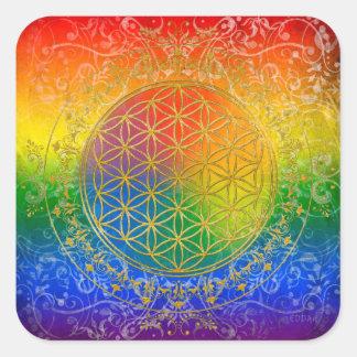 Flor de la vida - oro del arco iris del ornamento pegatina cuadrada
