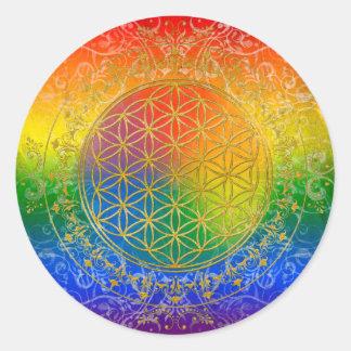 Flor de la vida - oro del arco iris del ornamento pegatina redonda