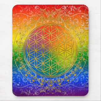 Flor de la vida - oro del arco iris del ornamento tapete de raton