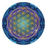 """Flor de la vida - oro - fractal 1 invitación 5.25"""" x 5.25"""""""